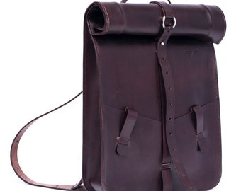 Leather backpack. Brown leather. Ludena leather backpack. Laptop pocket. Customized. Handmade laptop bag.