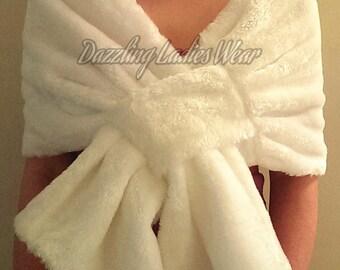 Ivory Soft Faux Fur Stole / Wrap / Shawl / Bolero / Shrug - Satin Lining - Weddings/bridal