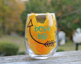 Best Big Little Sorority Stemless Wine Glass