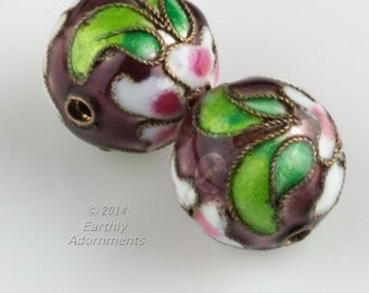 Vintage plum cloisonné rounds.18mm. Sold individually. b2-553(e)