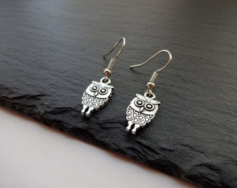 Silver Owl Earrings, Charm Earrings, Owl Gift