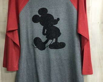 Mickey Mouse Silhouette Baseball Tee