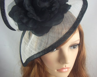 Black and White Sinamay Twist & Corsage Flower Fascinator - Occasion Wedding Races