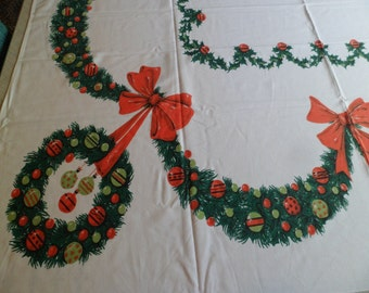 "Vintage Mid Century Simtex Christmas Tablecloth~60"" x 54""~Wreaths/Garland/Red Bows/Shiny Brites"