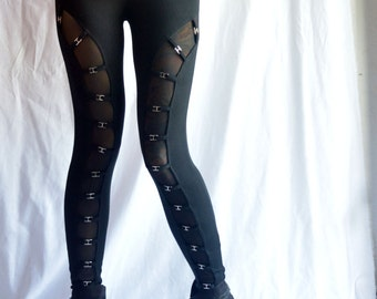 High Waist Gothic Black Bucke Style Leggings With Metal Hardware