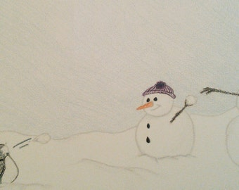 Print, penguins, snowmen, Snowball Fight!!
