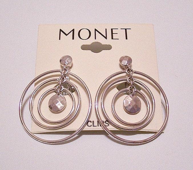 monet hoop clip on earrings silver tone vintage large