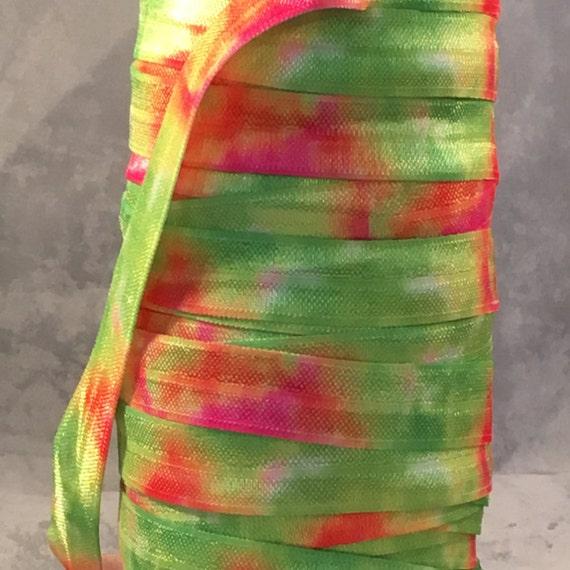 tie dye ribbon foe 5 8 fold elastic neon tye