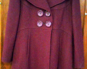 Vintage 1970's Cranberry Double Breasted Wool Coat With Big Buttons