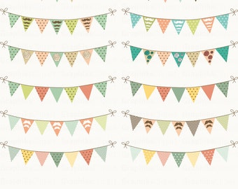 Party Bunting Flags Clipart. Bunting Clipart. Digital Bunting. Vector Bunting Flags. 12 images, 300 dpi. Eps, Png files. Instant Download.