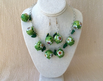 Aloha Lime Green Leaf and Coconut Bead Tiki Necklace and Earrings
