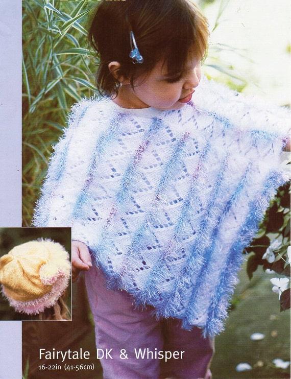 Knitting Pattern For Dk Poncho : baby DK / Eyelash poncho hat knitting pattern PDF fur poncho