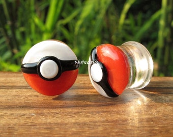 "Pokemon Stye Poke Ball Pyrex Glass Plugs  00g 7/16"" 1/2"" 9/16"" 5/8"" 3/4"" 1"" 9.5 mm 10 mm 12 mm 14 mm 16 mm 18 mm 20 mm 22 mm 25 mm"