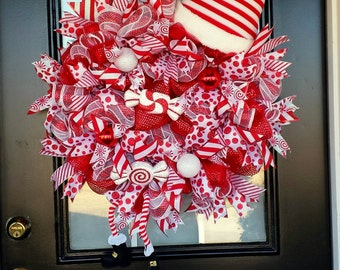 Whimsical, Red and White Elf Wreath With Striped Hat and Striped Legs, Item #55