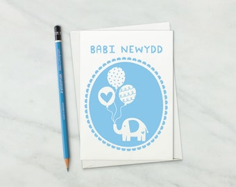 Welsh New Baby Card - Welsh Baby Boy Card - Welsh Language Card - Welsh New Baby