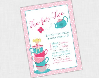 Tea Party Birthday Invitation For Two Invite Girls DIY Printable