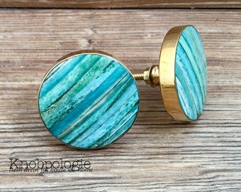 "SET OF 2 - 1.75"" Large Multi Shade Striped Turquoise Bone and Gold Knob - Ocean Teal Blue - Caribbean Blue Cabinet Decor"