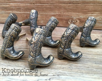 SET OF 8 -Cowboy Boot Cast Iron Knobs - Cowgirl Boots Drawer Pulls - Western Rustic Decor - Cowboy Nursery Theme Decorative Knobs