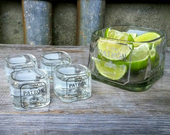 Patron Shot Glass Set with Lime Serving Dish, Home Bar, Patron Bottle, Patron Tequila Drinking Glass, Tequila Gift, Unique Gifts