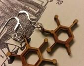 Laser Cut Thymine DNA Nucleobase Molecule Earrings - Chemistry Earrings - Nerdy Gift for Her