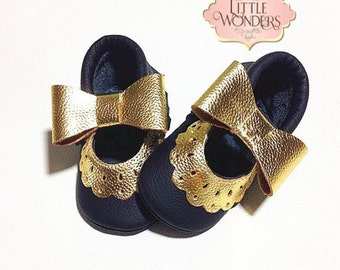 Baby Girl Soft Sole Black And GoldMary Jane Moccasins