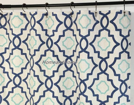 Custom Fabric Shower Curtain Talbot Harbor Blue Aqua Cream 72