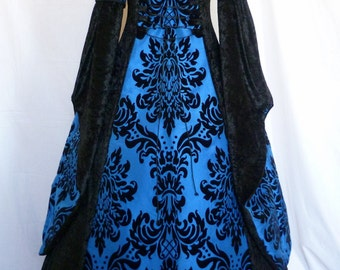 medieval hooded dress, goth gown, black and blue pagan wedding dress, sca renaissance gown Handfasting wedding uk size 12-14-16
