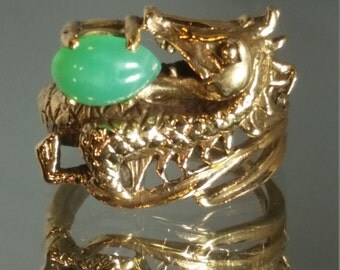 9K Solid Yellow Gold Handcrafted Jade Dragon Ring Retro Vintage