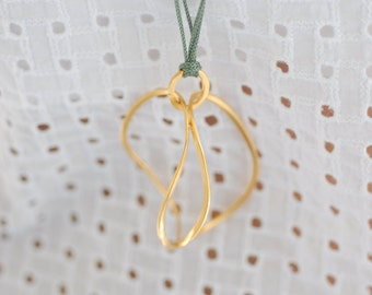 Art Circle Necklace, Abstract Necklace, Golden plated Bronze, Sea green Cord/Gift ideas /Art necklace by Vicky Kyritsi /Valentine gift