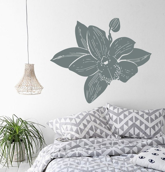 Wall Decals Orchid Branch Floral Design Flower by