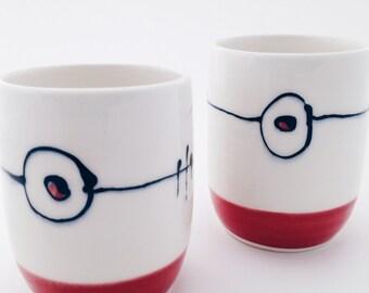 Soul handmade porcelain cup • white • red • simple • ceramic • gift • handmade • juice • tea • wine