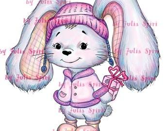 Digital Stamps, Digi stamp, Coloring pages, Bunny stamps, Pets stamp, Gift. The Collection: I have Something for You! The Bunny and Gift