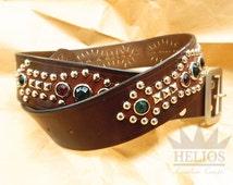 Studded jeweled leather mens belt, studded western belt, leather belt decorated with rhinestone [ model: Fw114B ]