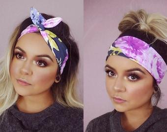 Floral Twist Wired Headband Pinup Kawaii Flower Print Vintage Bohemian Boho