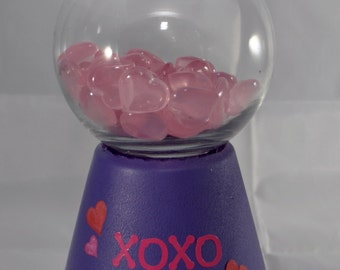Valentines Day Gumball Machine - Valentines Day Candy Dish - Valentines Day Cookie Jar - Decorative Decanter - Candy Bubble Gum Machine Look