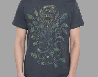 Visionary art t shirt for him. Sacred geometry shirt in grey - AYA -  Christmas gift  for men.
