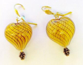 Heart earrings, summer jewelry, heart idea, romantic gift, JeriAielloartstore, hippie boho, OOAK original, small business, made in America