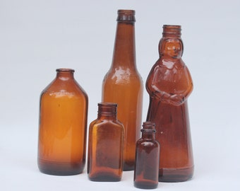 Vintage Brown Glass Bottles