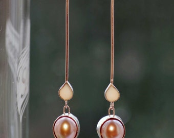 Earrings with pink freshwater pearls