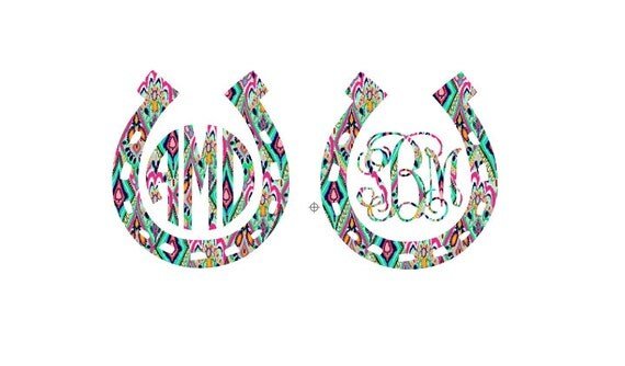 Free Shipping-Monogram Decal, Lilly Pulitzer Decal, Lucky Horseshoe Decal, Cowgirl Cowboy, Yeti, Laptop, Monogram Sticker, Last Name