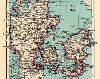 ANTIQUE MAP 1949 John Bartholomew DENMARK