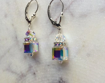 Clear Crystal & Sterling Silver Dangle