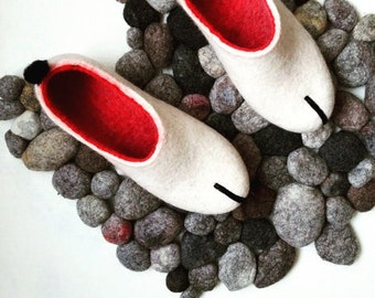 Felted slippers Natural wool shoes Wool clogs Gift for woman Felted clogs