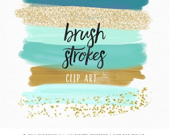 Brush Strokes Clip Art | Hand Painted Mint Gold Glitter Acrylic Graphic Elements | Digital Design Resource