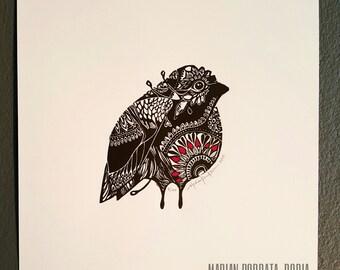 ORIGINAL Mandala BIRD LINOCUT - linoleum blockprint - handprinted