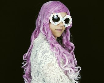 SALE - Frozen Cranberry - Soft Pink White Purple Ombre Pastel Long Curly Wavy Wig Kawaii Lolita Harajuku Cosplay Costume Hair Ready to Ship!