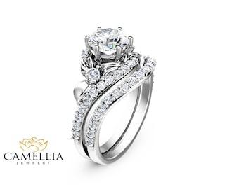 Vintage floral aquamarine engagement ring diamond wedding ring flower engagement ring set 14k white gold engagement rings flower 1ct moissanite ring with half eternity junglespirit Choice Image
