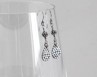 Balinese Sterling Silver Dangle Earrings, Bali Beads, Sterling Silver Earrings, Turkish Silver, Teardrop Dangles, Balinese Jewelry