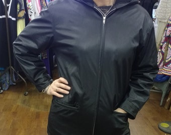 Vintage Black PVC Hooded Jacket