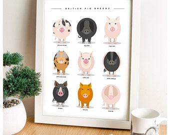 Pig Poster, Animal Print, Pig Gifts, Farm Animals, Animal Prints, Art Print, Pig Print, Farmyard animal prints, nursey prints, Baby shower